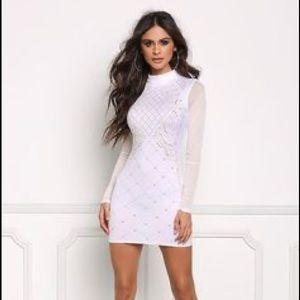 White  studded mesh sleeves bodycon dress